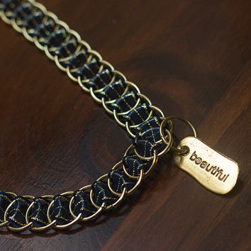 "Blue and Gold ""Beautiful"" Slave Collar, Submissive Collar, BDSM Collar, Ribbonmaille Collar"