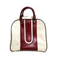 Bowling Ball Bag White Maroon Sports Vinyl Vegan Leather 1970's