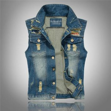 big size summer designer fashion brand Men's casual denim vest cotton slim popular Outerwear denim Coats jackets for men xxxl