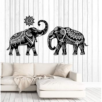 Wall Vinyl Decal Couple Indian Elephant Pattern Skin Home Interior Decor Unique Gift (z4679)