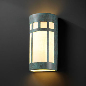 Justice Design Group CER7357WPATV Ambiance Verde Patina Really Big Prairie Window Two-Light Outdoor Wall Sconce