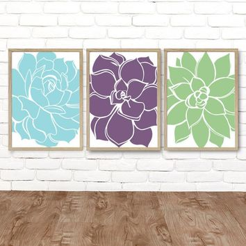 Succulent WALL ART, Succulent Decor, CANVAS or Prints, Blue Purple Green Floral Bathroom Pictures, Floral Bedroom Decor, Set of 3 Wall Decor
