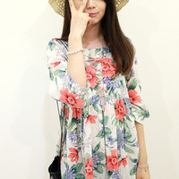 White Floral Print Pleated Dress with Lace
