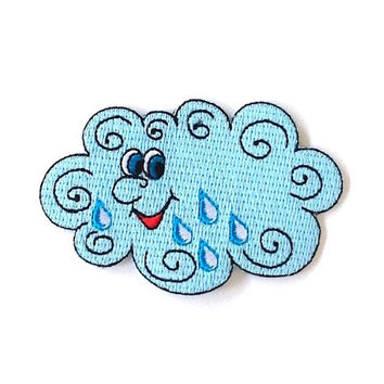 Rain Cloud Embroidered Patch Size 8.3 x 5.3 cm