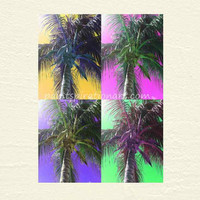 Printable Art Digital Download - Pop Art Palm Tree Print - DIY Printables Beach Home Decor Wall Art - Colorful Artwork