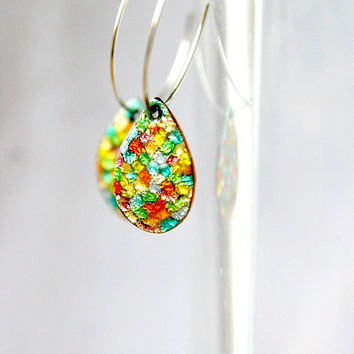 bright earrings, Game of the thrones, copper drop earring, oval drop earrings, mermaid scales, many colours earring, gay pride, LGBT