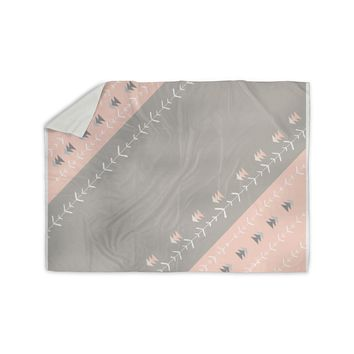 "Jennifer Rizzo ""Pink And Gray Arrows"" Gray Pink Digital Sherpa Blanket"