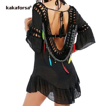Kakaforsa 2017 Women Sexy Backless Beach Cover Up Crochet Tunic Tassel Bikini Cover Up Summer Black Swim Ruffles Beach Dress