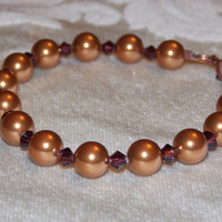 Copper Swarovski Pearl and Crystal Bracelet