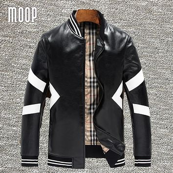 White geometric design lambskin genuine leather bomber jacket in black ribbed collar biker jackets moto coats homme LT1318