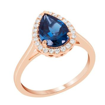 14k Rose Gold Pear London Blue Topaz and Diamond Halo Ring