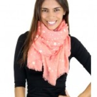 Star Print Coral Scarf