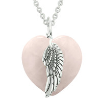 Guardian Angel Wing Inspirational Amulet Magic Puffy Heart Rose Quartz Pendant 18 inch Necklace