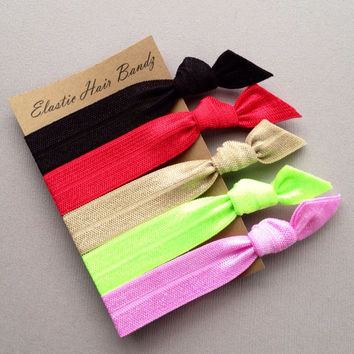 The Annie Hair Tie-Ponytail Holder Collection - 5 Elastic Hair Ties