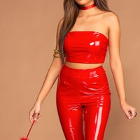 Devilish Red Crop Top and Pants Set