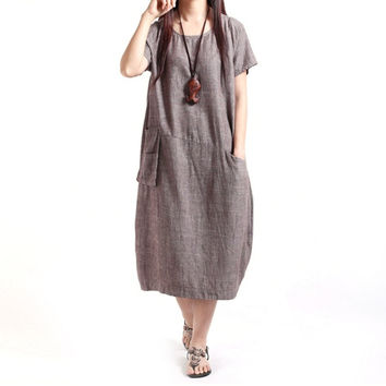 Fashion Women Dresses Cotton Linen Ladies Dress Fluid Casual Loose Sundress