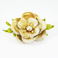 Enamel Camilla Flower Pin, Flower Power Brooch, Tan Petals, Green Leaves, Aurora Borealis Rhinestone, Vintage 1950s 1960s Floral Flowers