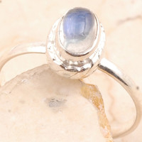 Stackable Rainbow Moon Stone Ring