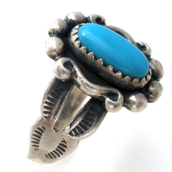 Sterling Silver Turquoise Ring Bell Trading Co Size 3.5