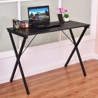 Costway Computer Desk Wood Metal PC Laptop Table Writing Study Workstation Home Office - Walmart.com