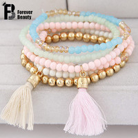 6pc/set Fashion Multilayer Summer Candy Color Beads Tassels Bracelet For Women Bohemian Elastic Jewelry Pulseiras Femininas 2016