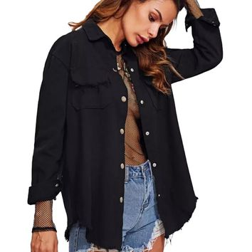 Trendy Punk Style Pink Loose Basic Denim Jackets Women Over Size Turn Down Collar Autumn Jeans Jackets Coat Girlfriend Jacket F30 AT_94_13