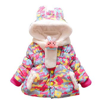 Baby Girls Winter Jackets Kids Hooded Coats Children Thick Warm Down Parkas Baby Girl Fleece Outerwear Winter Jackets