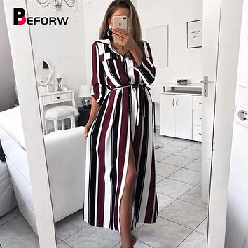 BEFORW 2018 Office Lady Turn-Down Collar Button Lace Up Long Shirt Dress Women Autumn Winter Long Sleeve Stripe Maxi Dresses