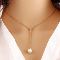 Link Chain Necklaces Women Gold Color Simulated Pearls Short Clavicle Choker Long Tassel Beads Pendants Charm Choker Jewelry