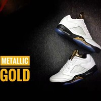 Nike Air Jordan 5 Retro Low Medallic Gold Men Leather Sneaker Us7 12 | Best Deal Online