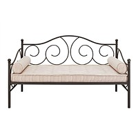 Twin Size Scrolling Metal Day Bed in Contemporary Brushed Bronze