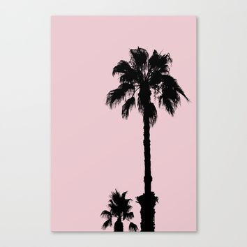 Palm Tree Silhouettes On Pink Canvas Print by ARTbyJWP
