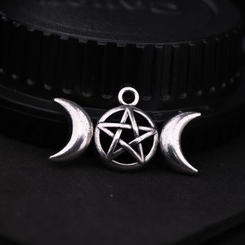 Teamer Punk Goddess Amulet Wicca Pentagram Charm Vintage Triple Moon Supernatural Amulet Talisman Pendant for Jewelry Making