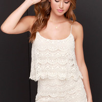Fray Spirit Cream Lace Romper