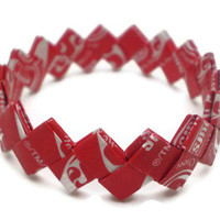 Starburst CHERRY Flavor Recycled/Upcycled Candy Wrapper Bracelet - CHILD SIZE - Great Stocking Stuffer