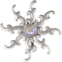14g Surgical Steel Reverse Mount CZ Crystal Tribal Sun Belly Button Ring Shield