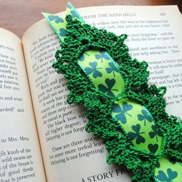 Crochet bookmark, green with shamrock ribbon, lace bookmark, St. Patrick's Day