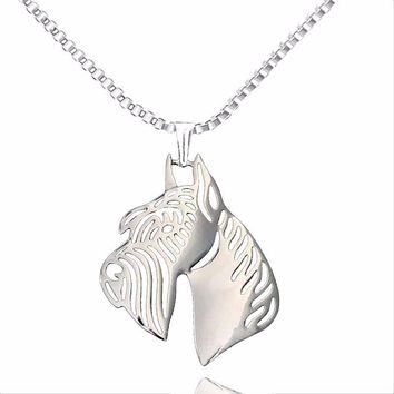 Hollow Giant Schnauzer Dog Pendant Necklace Women Silver Plated Animal Puppy Pet Memorial Jewelry For Pet Lovers Necklace 2017