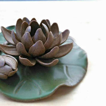 Lotus Queen : Rustic Ceramic Lotus Decoration / Incense Burner ~ Zen Style for Buddhists #Sand