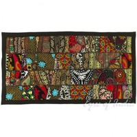 """40"""" Black Patchwork Embroidery Wall Hanging Runner Tapestry"""