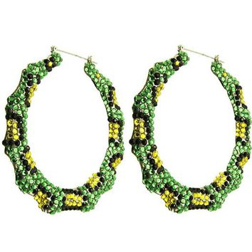 Green Lucite Bead Hoop Earring