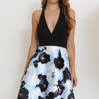 Floral Halter Fit And Flare Dress