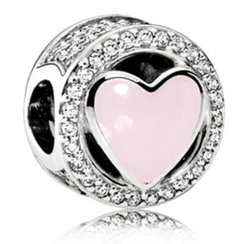 Pink European Heart Wonderful Love Charm With Crystal Fit Women Pandora Bracelet