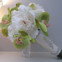 Real Touch Wedding Bouquet - Green Orchids And White Peonies And Roses | Luulla