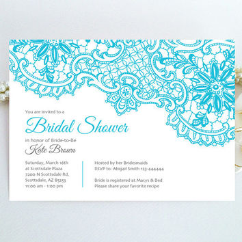 Lace Bridal Shower Invitation - Tiffany blue and grey elegant Bridal Shower invitation printed on luxury pearlescent paper