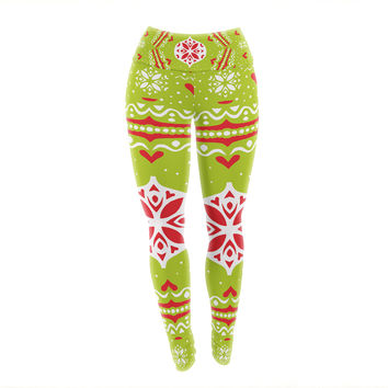 "Miranda Mol ""Snowjoy Green"" Red Yoga Leggings"