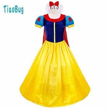 Elegant Wedding Party Dresses Women Ladies Snow White Princess Costume with Hair Hoop Halloween Cosplay Parties Ball Gown Dress
