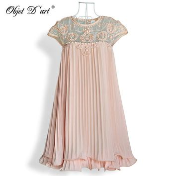 Women Brand Design Vestidos Elegant Party Casual Vintage Apricot Short Sleeve Lace Pleated Ruffled Chiffon Dress for Wedding