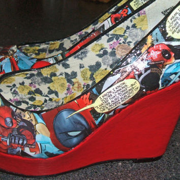 Marvel Comic Book Wedges - Deadpool - Red Wedges - Geekery Comic Heels