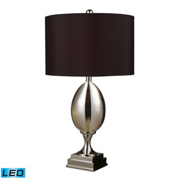 D1426B-LED Waverly LED Table Lamp In Chrome Plated Glass With Milano Black Shade